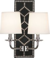 Robert Abbey S1035 Williamsburg Lightfoot Blacksmith Black Leather and Polished Nickel Wall Lighting Sconce