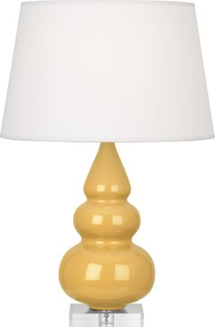 Robert Abbey SU33X Triple Gourd Sunset Yellow Glazed Ceramic with Lucite 24 Side Table Lamp