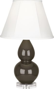 Robert Abbey TE13 Double Gourd Brown Tea Glazed Ceramic with Lucite 22 Table Top Lamp