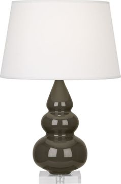 Robert Abbey TE33X Triple Gourd Brown Tea Glazed Ceramic with Lucite 24 Side Table Lamp