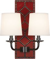 Robert Abbey Z1031 Williamsburg Lightfoot Dragons Blood Leather and Deep Patina Bronze Sconce Lighting