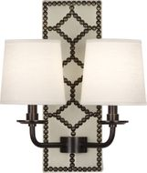 Robert Abbey Z1032 Williamsburg Lightfoot Bruton White Leather and Deep Patina Bronze Light Sconce