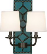 Robert Abbey Z1033 Williamsburg Lightfoot Mayo Teal Leather and Deep Patina Bronze Lighting Sconce