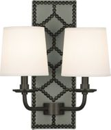 Robert Abbey Z1034 Williamsburg Lightfoot Carter Gray Leather and Deep Patina Bronze Lamp Sconce