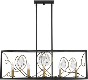 Savoy House 1-2032-5-62 Suave Como Black with Gold Kitchen Island Light Fixture