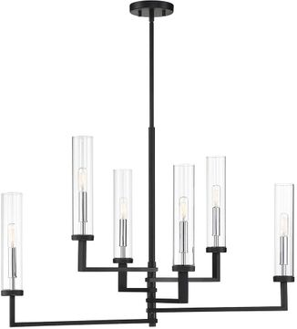 Savoy House 1-2136-6-67 Folsom Contemporary Matte Black with Polished Chrome Accents Chandelier Lighting