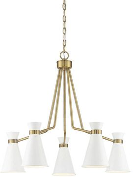Savoy House 1-2415-5-160 Lamar Modern White with Warm Brass Chandelier Light