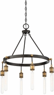 Savoy House 1-2901-6-51 Campbell Contemporary Vintage Black with Warm Brass Mini Chandelier Lamp