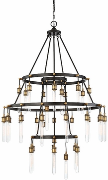Savoy House 1-2903-35-51 Campbell Contemporary Vintage Black with Warm Brass Ceiling Chandelier