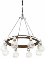 Savoy House 1-3403-8-73 Barfield Contemporary Polished Nickel w/ Wood accents Chandelier Lamp