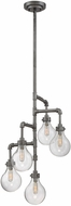 Savoy House 1-6071-5-90 Dansk Modern Galvanized Metal Mini Hanging Chandelier