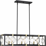 Savoy House 1-641-6-77 Lowell Contemporary Bronze w/ Brass Accents Kitchen Island Light Fixture