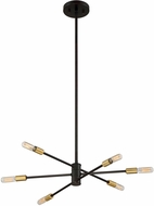 Savoy House 1-7000-6-77 Lyrique Modern Bronze w/ Brass Accents Mini Chandelier Light