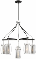 Savoy House 1-9060-6-67 Dunbar Modern Matte Black w/ Polished Chrome Accents Chandelier Light