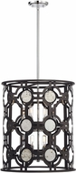 Savoy House 3-9222-8-107 Chennal Modern Bronze and Chrome w Antique Mirror Accents Foyer Light Fixture