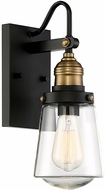 Savoy House 5-2067-51 Macauley Contemporary Vintage Black with Warm Brass Exterior 7.5  Wall Sconce Lighting