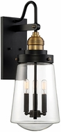 Savoy House 5-2068-51 Macauley Contemporary Vintage Black with Warm Brass Exterior Lighting Wall Sconce