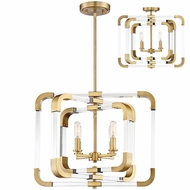 Savoy House 6-1662-4-322 Rotterdam Contemporary Warm Brass Mini Chandelier Lighting  Ceiling Light Fixture