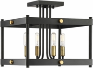 Savoy House 6-2232-4-51 Fowler Contemporary Vintage Black with Warm Brass Flush Ceiling Light Fixture
