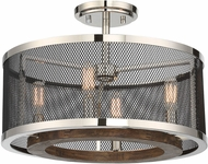 Savoy House 6-3092-4-73 Valcour Contemporary Polished Nickel w/ Graphite and Wood Accents Ceiling Light