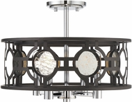 Savoy House 6-9221-4-107 Chennal Contemporary Bronze and Chrome w Antique Mirror Accents Ceiling Light Fixture  Pendant Light