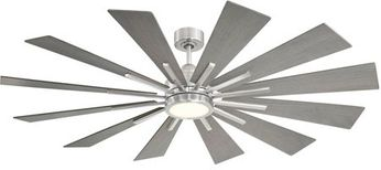 Savoy House 60-760-12GR-187 Farmhouse Contemporary Brushed Pewter LED Home Ceiling Fan
