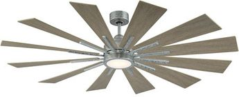 Savoy House 60-760-12WO-168 Farmhouse Contemporary Galvanized LED Home Ceiling Fan
