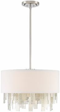 Savoy House 7-20000-3-109 Fairmont Contemporary Polished Nickel Drum Hanging Pendant Lighting