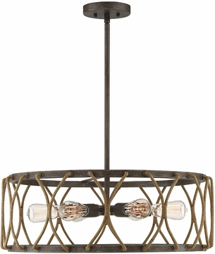 Savoy House 7-5301-6-32 Keating Contemporary Artisan Rust Drum Drop Ceiling Light Fixture
