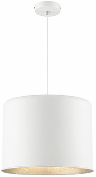Savoy House 7-554-1-135 Morgan Modern Textured White with Silver Leaf Drum Pendant Hanging Light