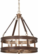 Savoy House 7-614-4-50 Harrington Brown Leather Hanging Light