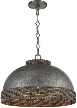 Savoy House 7-748-3-179 Tripoli Mottled Zinc w/ Gray Rattan Hanging Pendant Light