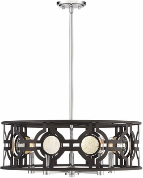 Savoy House 7-9223-5-107 Chennal Contemporary Bronze and Chrome w/ Antique Mirror Accents Drum Drop Ceiling Lighting