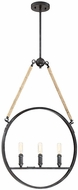 Savoy House 7-9272-3-115 Piccardy Modern Rustic Black w/ Rope Hanging Pendant Light
