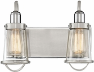Savoy House 8-1780-2-111 Lansing Contemporary Satin Nickel w Polished Nickel Accents 2-Light Bathroom Light