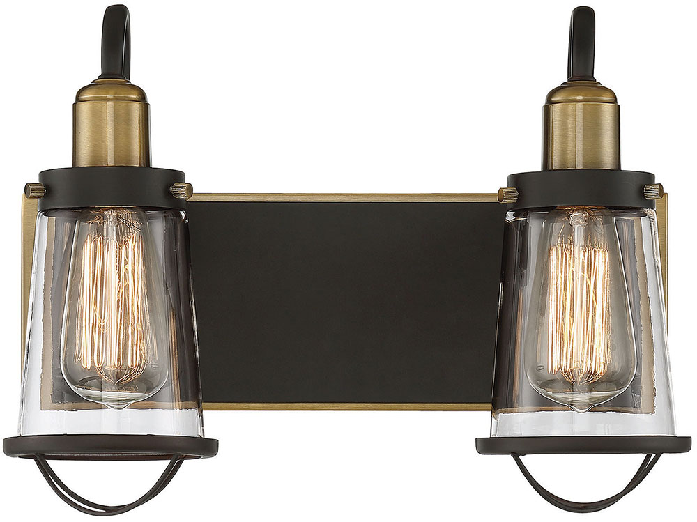 Savoy House Lansing Modern English Bronze And Warm Brass - Savoy bathroom light fixtures