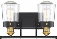 Savoy House 8-2069-2-51 Macauley Contemporary Vintage Black With Warm Brass 2-Light Bathroom Light