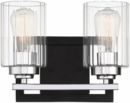 Savoy House 8-2154-2-67 Redmond Contemporary Matte Black with Polished Chrome Accents 2-Light Bathroom Light Fixture