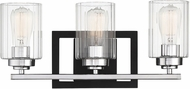 Savoy House 8-2154-3-67 Redmond Modern Matte Black with Polished Chrome Accents 3-Light Bathroom Vanity Lighting