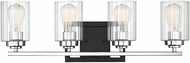 Savoy House 8-2154-4-67 Redmond Contemporary Matte Black with Polished Chrome Accents 4-Light Bathroom Vanity Light