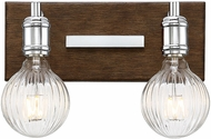 Savoy House 8-3405-2-73 Barfield Contemporary Polished Nickel w/ Wood accents 2-Light Bath Sconce