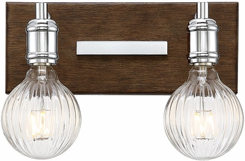 Savoy House 8-3405-2-73 Barfield Contemporary Polished Nickel w Wood accents 2-Light Bath Sconce