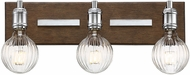 Savoy House 8-3405-3-73 Barfield Modern Polished Nickel w/ Wood accents 3-Light Vanity Light Fixture