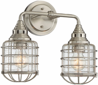 Savoy House 8-575-2-SN Connell Contemporary Satin Nickel 2-Light Bathroom Wall Light Fixture