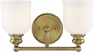 Savoy House 8-6836-2-322 Melrose Warm Brass 2-Light Bathroom Light Sconce