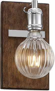 Savoy House 9-3405-1-73 Barfield Modern Polished Nickel w Wood accents LED Wall Mounted Lamp