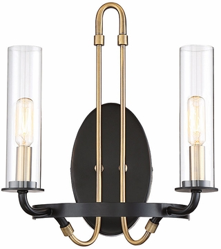 Savoy House 9-8073-2-51 Kearney Contemporary Vintage Black w Warm Brass Wall Mounted Lamp