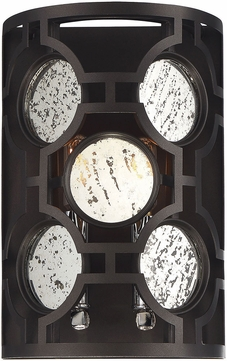 Savoy House 9-9220-2-107 Chennal Modern Bronze and Chrome w/ Antique Mirror Accents Wall Lighting Sconce