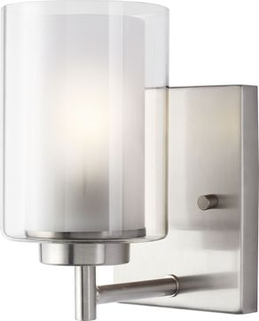 Seagull 4137301-962 Elmwood Park Modern Brushed Nickel Light Sconce