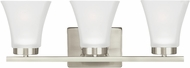 Seagull 4411603EN-962 Bayfield Contemporary Brushed Nickel LED 3-Light Bathroom Vanity Light